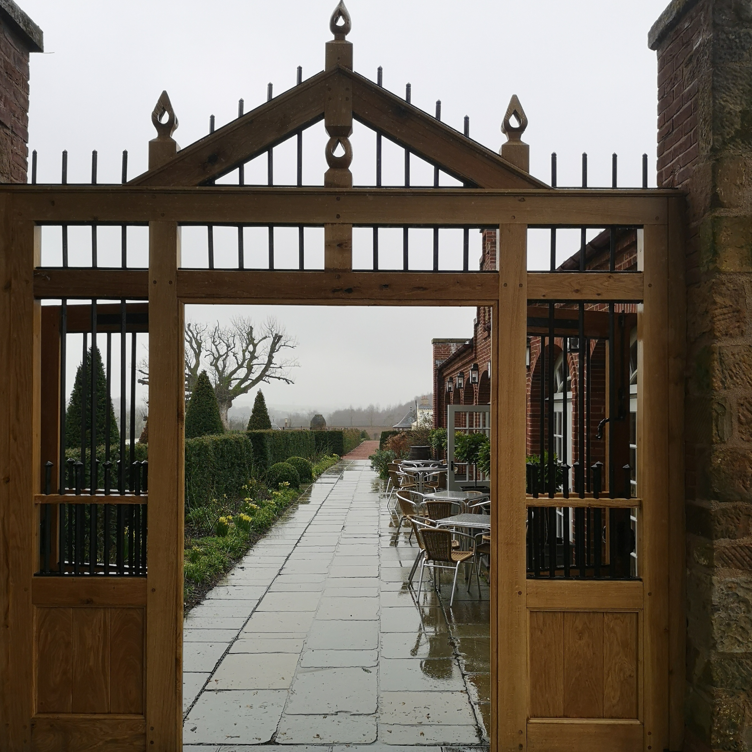 Full view of Dumfries House walled garden gate