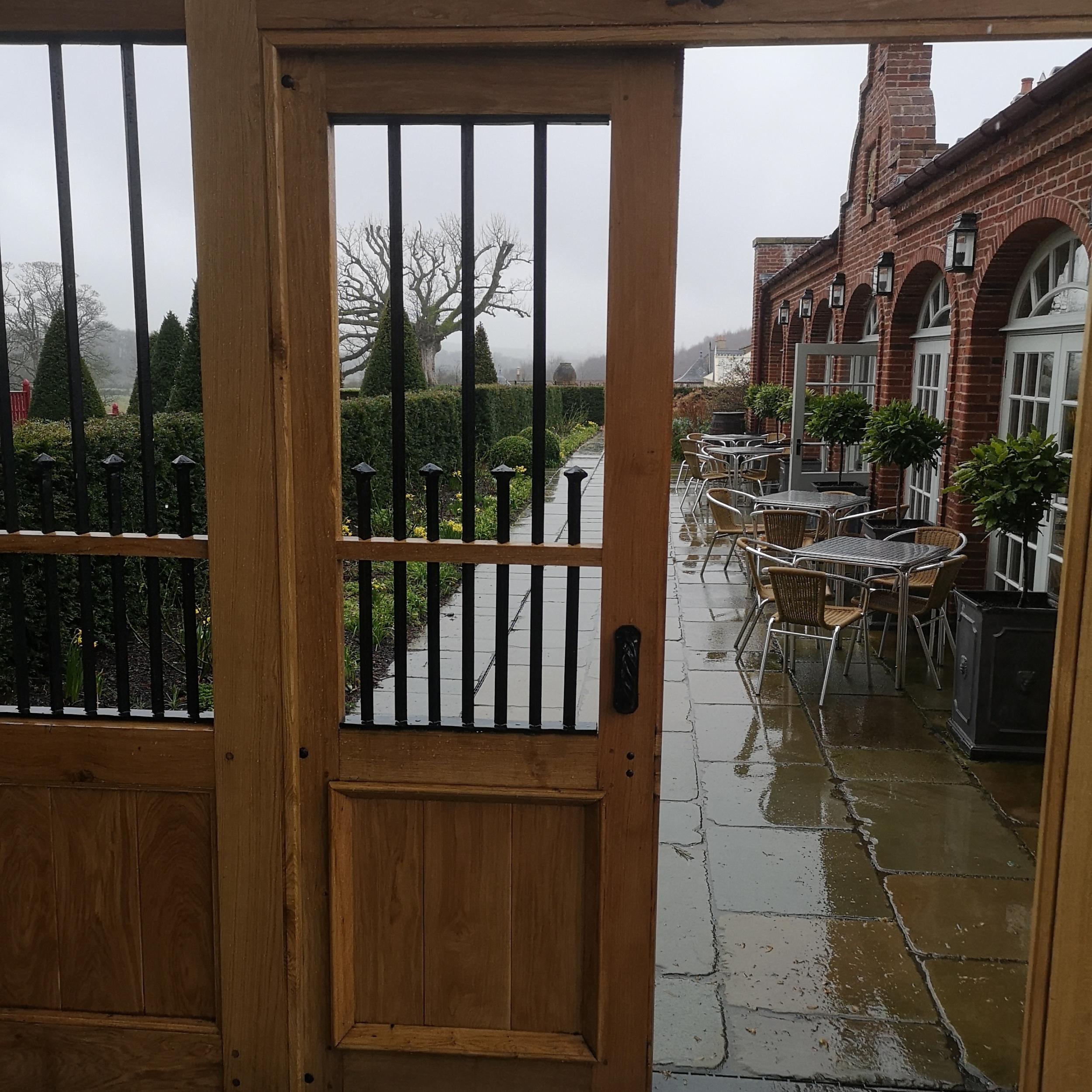 View of Dumfries House walled garden gate door