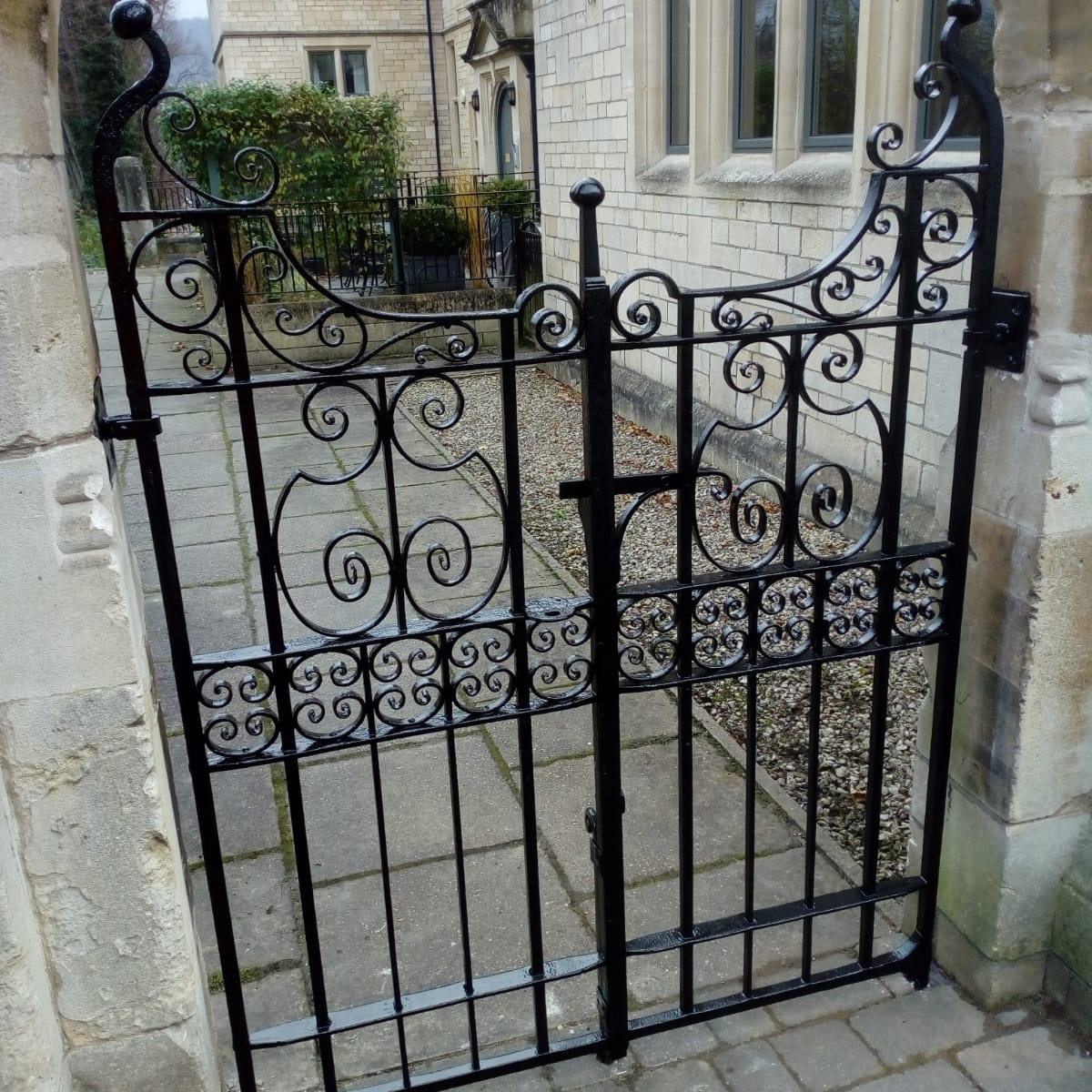 Completed restoration on the Bath town house gate