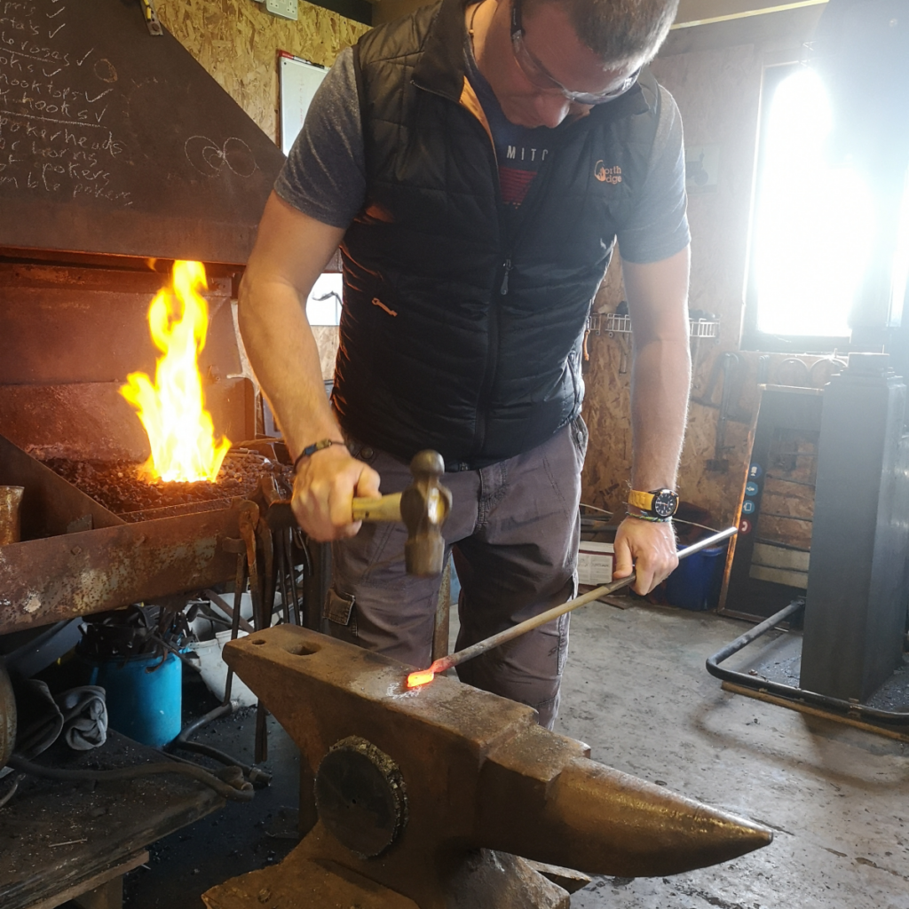 Forging a leaf on an experience day.